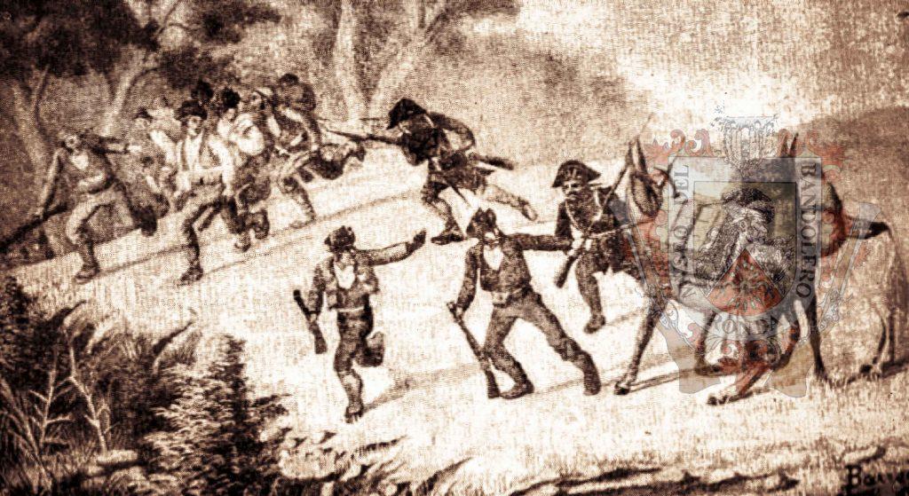 Dibujo de un enfrentamiento entre bandoleros y la guardia civil
