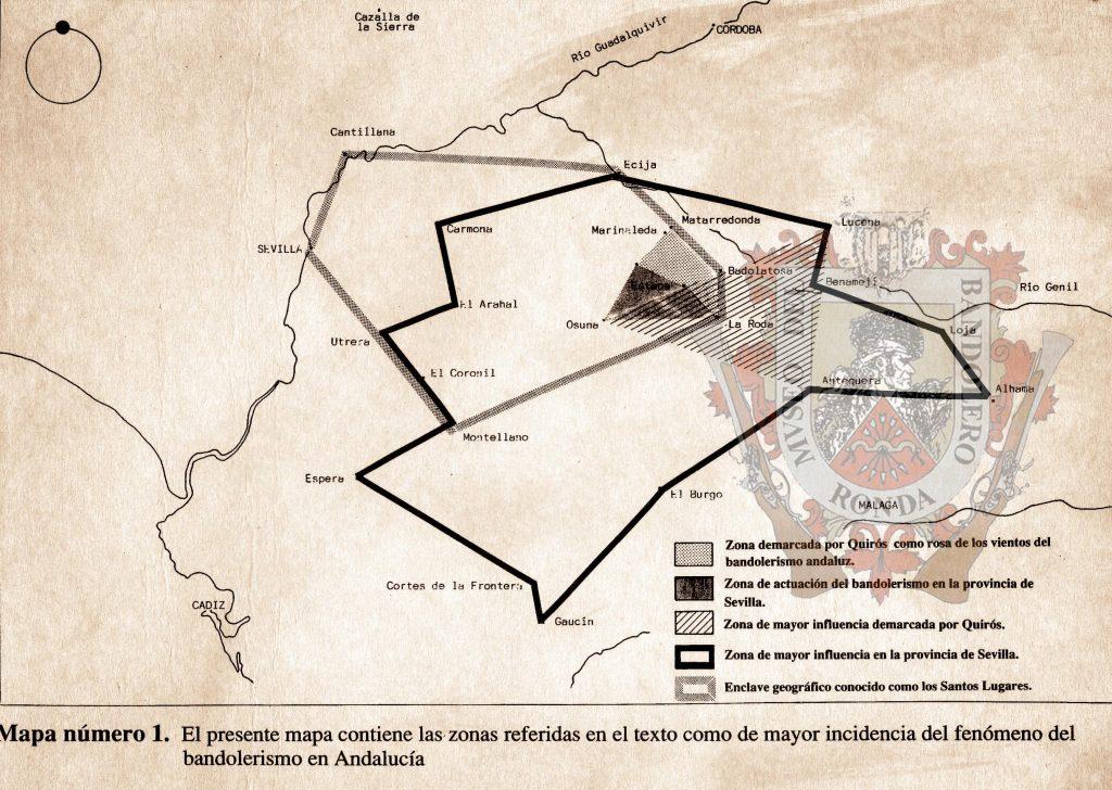 Mapa de la dispersión del bandolerismo en Andalucía